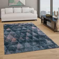 teppich wohnzimmer kurzflor boho vintage design rauten muster in grau rosa
