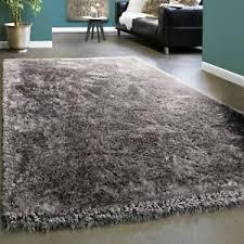 details zu edler teppich shaggy hochflor einfarbig flauschig glänzend in grau hellgrau