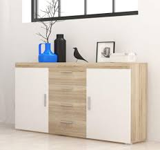 kommode anrichte sideboard wohnzimmer 150cm eiche sonoma weiß