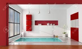 minimalistischen luxus badezimmer wit große badewanne rendering