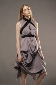 new gray draped dress diana paukstyte