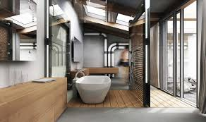 industrial bathroom lighting with white bathtub and natural brown
