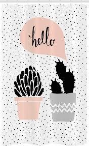abakuhaus duschvorhang badezimmer deko set aus stoff mit haken breite 120 cm höhe 180 cm kaktus gezeichnet pflanzen hallo kaufen