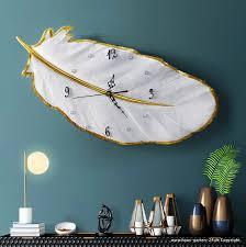 luxus feder wanduhr wohnzimmer dekoration