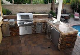Fascinating Outdoor Kitchen For Backyard Landscape With L Shaped Design