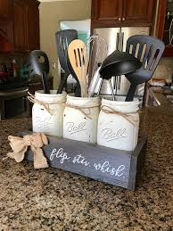 Mason Jar Utensil Holder Farmhouse Kitchen Decor
