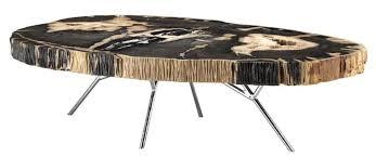 casa padrino luxus couchtisch wohnzimmertisch mit dunkler versteinerten holz tischplatte