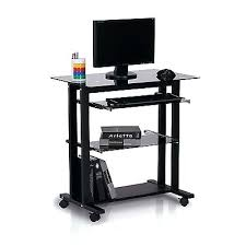 desk black glass corner pc desk lian li dk 04x black tempered