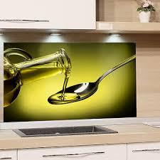 küchenrückwand glas olivenöl grün spritzschutz küche herd esg glasbild wand