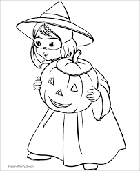 This Halloween Coloring Page Is Free Printable And The Young Kids Will Enjoy Cute Little Girl Who Dressed In A Costume