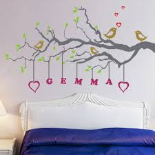 Tree Wall Decor With Pictures by Birds And Tree Wall Stickers Decals With Name Hanging Home Decor
