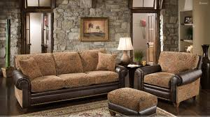 Living Room Brown Sofa Set In Resting And Stones Wall Minimalist Decorating Rustic