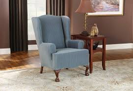 Stretch Pinstripe One Piece Wing Chair Slipcover ... Sure Fit Stretch Stripe Wing Chair Slipcover Walmartcom Fniture Armless For Room With Unique Striped Wingback Beachy Blue White Surefit Sage Double Diamond Slipcovers Navy Parsons Used Moving Piqu One Piece Form Machine Washable Shop Ticking Free Indoor Chairs Covers Maytex Pixel 1 Back Arm Complete Your Collection Custom By Shelley Wingback Chair