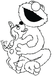Elmo Coloring Pages Christmas Sesame Street Lick By Little Dog Page Color