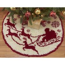 CraftwaysR Santas Sleigh Tree Skirt Latch Hook Kit