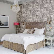 Luxurious Bedroom With Velvet Headboard On Double Bed Side Table Chandelier And Picture