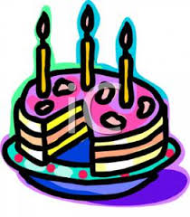 Clip Art Image A Birthday Cake Missing a Slice