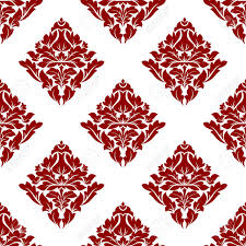Floral Seamless Pattern With Maroon Or Crimson Dark Red Flowers On White In Square Format