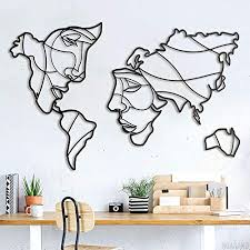 de hoagard faces of world map metal wall