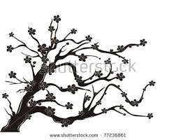 Cherry blossoms clipart black background