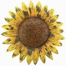 Image Is Loading Sunflower Giant Rustic Flower Wall Art Metal Garden