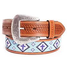 cowboy chrome mens beaded cross leather belts tan
