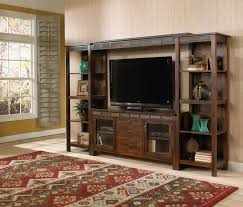 Wall Units Rustic Entertainment Center Diy Sturdy Dark Wooden Tv Cabinet And