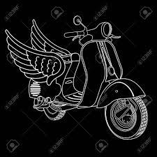 Elegant Vintage Scooter Logo Templates Style Badges And Labels Black