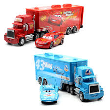 Disney Pixar Cars 2 Toys 2pcs Lightning McQueen Mack Truck The King ...