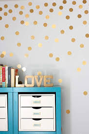 Unique Diy Wall Decor Art Ideas Gold Metallic Dot Walls VCSADTG