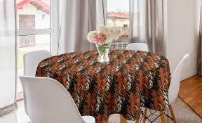 abakuhaus tischdecke kreis tischdecke abdeckung für esszimmer küche dekoration burnt orange herbst farben blätter kaufen otto