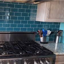 6 X 12 Glass Subway Tile by Glass Subway Tile Dark Teal 3