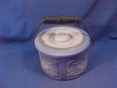 3 Vintage Blue White Pottery Speckled Splatter Cheese Butter Crock