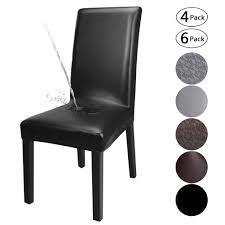 YISUN Dining Chair Covers,Solid Pu Leather Waterproof And Oilproof Stretch  Dining Chair Protector Cover Slipcover (Black, 4 Pack) Us 701 45 Offnew Spandex Stretch Ding Chair Cover Machine Washable Restaurant Wedding Banquet Folding Hotel Zebra Stripped Chairs Covergin Yisun Coverssolid Pu Leather Waterproof And Oilproof Protector Slipcover Black 4 Pack 100 Room Navy Blue And White Unique Bargains Removable Short Slipcovers Nanpiperhome Elegant Elastic Universal Home Decor Searching Perfect Check Search Faux By Surefit Classic Cabana Stripe Long Covers Set Of 2 Ltplaza Modern Seat 4pcsset Damask Operi
