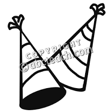 black and white birthday party hat clipart