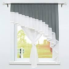 schoal scheibengardine landhaus bistrogardine mit tunnelzug voile gardinen transparent vorhänge wohnzimmer bxh 80x140 cm 1 stück grau