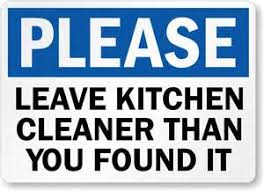 Keep Kitchen Clean Signs Printable Clipart Free