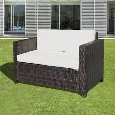 outsunny rattan sofa chair 2 seater garden patio furniture wicker