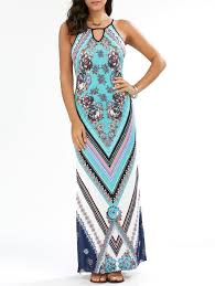 floral chevron sleeveless keyhole neck beach maxi dress cyan xl