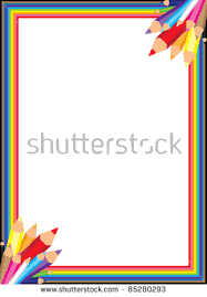 Fun And Colorful Rainbow Pencil Border