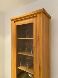vitrine schrank wohnzimmer regal kernbuche massiv hochwertig
