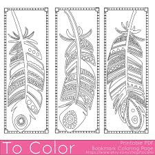 Printable Feathers Coloring Page Bookmarks For Adults PDF JPG Instant Download