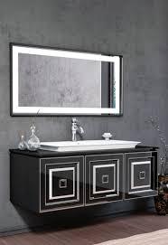 casa padrino luxus badezimmer set schwarz silber 1 waschtisch mit waschbecken 1 led wandspiegel luxus badezimmer möbel