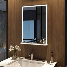 details zu touch badspiegel mit ablage und beleuchtung 50x70 cm led wandspiegel mit regal