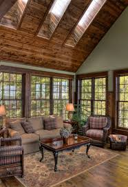 Sunroom Ideas Rustic With Log House Lake Home Wood Ceiling