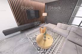 modernes wohnzimmer mit großem tv an der wand stockfoto und mehr bilder architektur