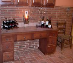 Exciting Brick Backsplash With Candle And Indoor Flooring Also Wooden Cabinet For Modern Home Interior