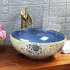 vintage antik stil blumenmuster kasbah waschbecken waschbecken keramik porzellan handgemachte waschbecken rund badezimmer garderobe theke schüssel 400
