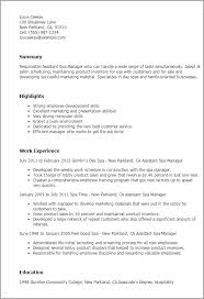 Assistant Spa Manager Resume Template Best Design Tips