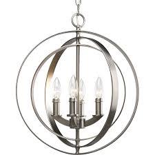 Progress Lighting Equinox 16 In 4 Light Burnished Silver Globe Chandelier